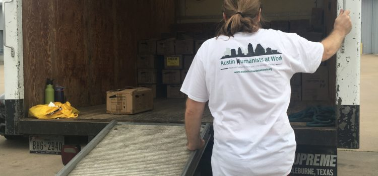 Austin Humanists at Work partners with Keep Austin Fed to process huge donation